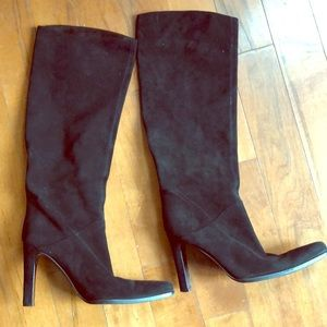 Sergio Rossi knee high black suede boots